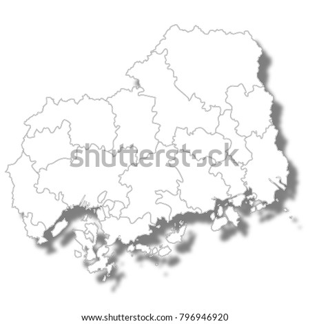 Hiroshima Prefecture Map White Icon Stock Vector (Royalty Free ...