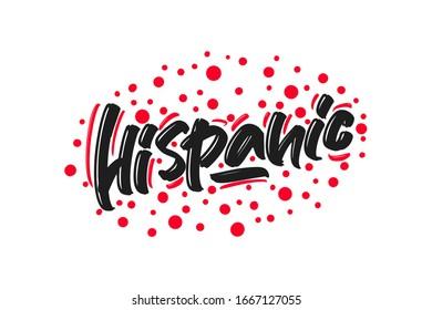 Hispanic hand drawn lettering text. Vector illustration