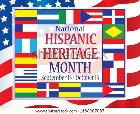 hispanic heritage month flags stock vector royalty free 1186987087