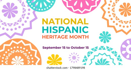 Hispanic heritage month. Vector web banner, poster, card for social media and networks. Greeting with national Hispanic heritage month text, Papel Picado abstract hispanic pattern on white background.