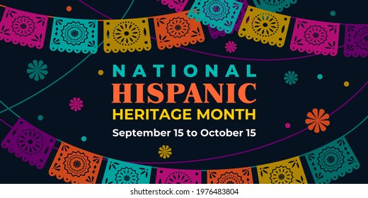 Hispanic heritage month. Vector web banner, poster, card for social media, networks. Greeting with national Hispanic heritage month text, Papel Picado pattern, perforated paper on black background.