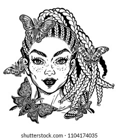 Hispanic Latin or African American pretty girl with moth and butterefly. Attractive woman portrait with hair made in braided style insects around. Isolated vector illustration.