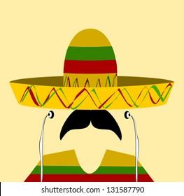 hispanic man wearing earphones and sombrero