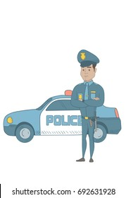 Hispanic police officer standing with arms crossed on the background of police car. Police officer standing in front of police car. Vector sketch cartoon illustration isolated on white background.