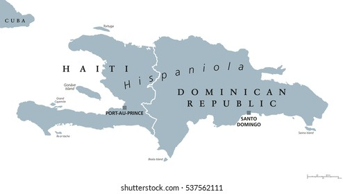 Hispaniola political map, also San Domingo. Haiti and Dominican Republic with capitals Port-au-Prince and Santo Domingo, in the Caribbean island group. Gray illustration with English labeling. Vector.