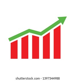 Histogram Column chart flat icon. Financial graph sign. Stock exchange symbol. Business investment. flat design element. flat histogram icon