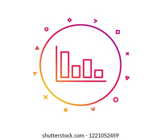 Histogram Column chart line icon. Financial graph sign. Stock exchange symbol. Business investment. Gradient pattern line button. Histogram icon design. Geometric shapes. Vector