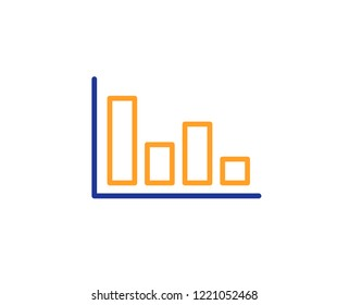 Histogram Column chart line icon. Financial graph sign. Stock exchange symbol. Business investment. Colorful outline concept. Blue and orange thin line color icon. Histogram Vector