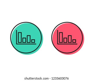 Histogram Column chart line icon. Financial graph sign. Stock exchange symbol. Business investment. Positive and negative circle buttons concept. Good or bad symbols. Histogram Vector