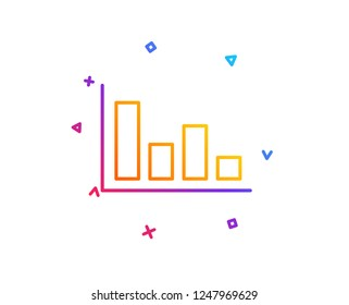 Histogram Column chart line icon. Financial graph sign. Stock exchange symbol. Business investment. Gradient line button. Histogram icon design. Colorful geometric shapes. Vector