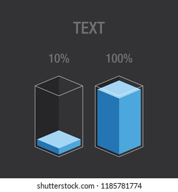 Histogram glass bars - blue. Modern flat design  inforchart / infographic / icons with text, 10%, 100%,  isolated on light background, clipart vector eps 10