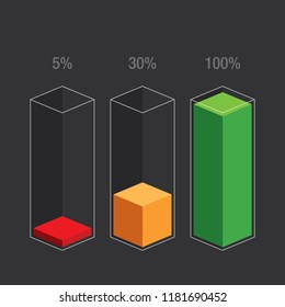 Histogram glass bars - red, orange, green. Modern flat design  infochart  / infographic / icons with text, 5%, 30%, 100%, isolated on dark background, clipart vector eps 10