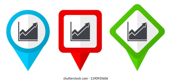 Histogram red, blue and green vector pointers icons. Set of colorful location markers isolated on white background easy to edit.