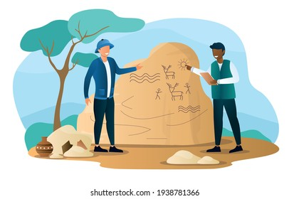 Historian characters is searching for artifacts. Archeologists studying,digging, researching. Flat abstract outline cartoon vector illustration concept banner design. Art isolated on white background