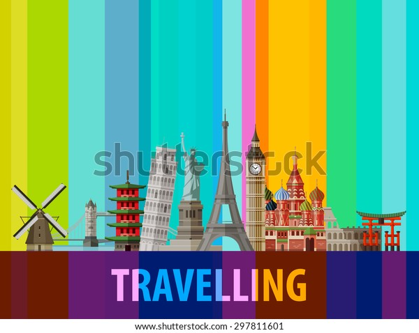 historic architecture of the countries around the world on a colored background. vector illustration