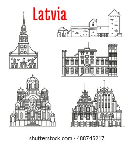 Historic architecture landmarks, sightseeings, famous showplaces of Latvia. Vector thin line icons of St. Peter Church, Turaida Castle, Birini Palace, Nativity of Christ Cathedral, House of Blackheads