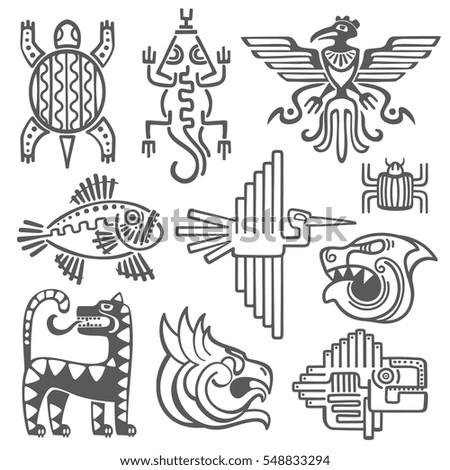 Historic Aztec Inca Vector Symbols Mayan Stockvector Rechtenvrij