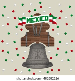 Historic Bell Mexico Independence Day Isolate / Mexico Banner / Mexico Card / Background