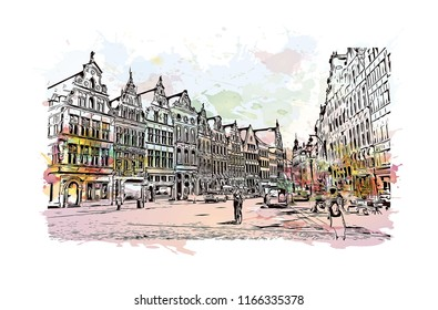 Historic building with landmark of Antwerp is a port city on Belgium River, with history dating to the Middle Ages. Watercolor splash with Hand drawn sketch illustration in vector.