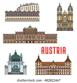 Historic buildings of Austria. Vector architecture icon of Burgtheater, Eggenberg Palace, Melk Abbey, Ambras Castle, Kirche am Steinhof for souvenirs, postcards, t-shirts