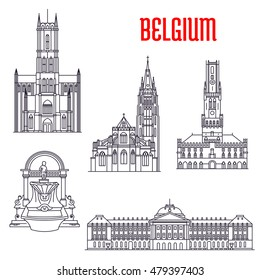 Historic buildings of Belgium. Thin line icons of Manneken Pis, Royal Palace, Belfry of Bruges, Church of Our Lady, St Bavo Cathedral. Belgian showplaces symbols for souvenirs, postcards, t-shirts