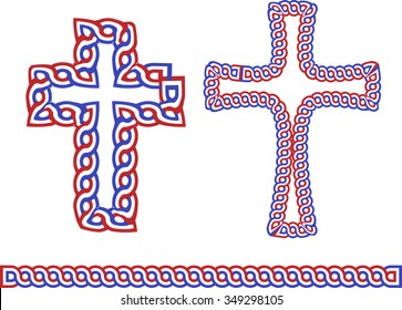 "Historic croatian traditional national interlace or wattle style crosses, so called ""Hrvatski pleter"""