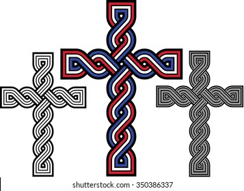 "Historic croatian traditional national interlace or wattle style crosses, so called ""Hrvatski pleter"", in croatian national tricolor and monotone outlines"