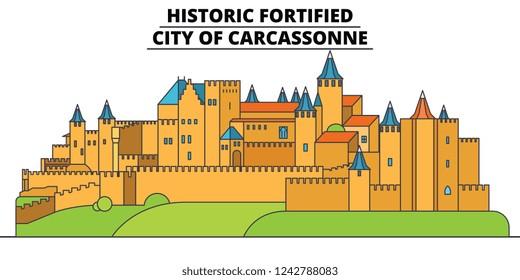 Historic Fortified - City Of Carcassonne  line travel landmark, skyline, vector design. Historic Fortified - City Of Carcassonne  linear illustration.