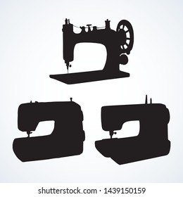 Historic metallic domestic stitch needlecraft instrument on white atelier backdrop. Dark black ink drawn needlecraft string object logo emblem pictogram insignia in ancient art contour print style