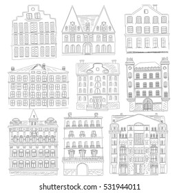 Historic old buildings line style. Outline old city building isolated set. architectural sketch