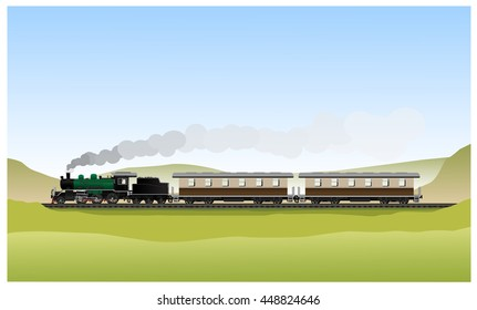 Historic Old steam locomotive green black World War generation and wagons on railroad track in Landscape background. Vector Illustration
