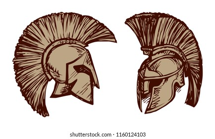 Historic past golden leonidas helm on white backdrop. Freehand outline black ink hand drawn picture sign sketchy in art doodle cartoon retro style pen on paper. Closeup side view with space for text