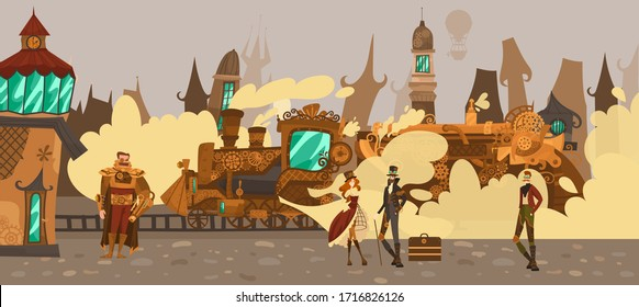 Historic people in fairytale town with old european architecture houses, steampower train fantasy Europe in steampunk technology style vector illustration. Old steampunk town and pedestrians.