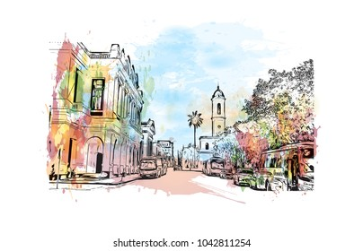 Historic place and Building view of Cienfuegos City in Cuba. Watercolor splash with Hand drawn sketch illustration in vector.