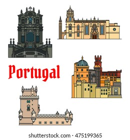 Historic Portugal landmarks. Vector detailed icons of Jeronimos Monastery, Hieronymites Monastery, Belem Tower, Clerigos Church, Pena Palace. Portuguese symbols for souvenirs, postcards