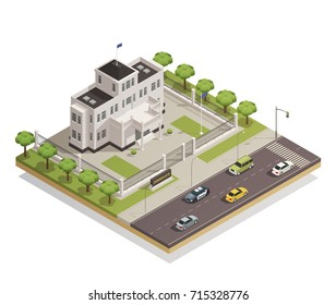 Historic white lime painted government building in city center and surrounding area architectural isometric composition vector illustration