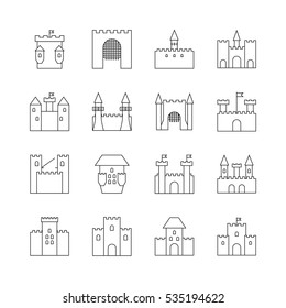 Historical Ancient Castle Linear Icons Citadel And Chateau Fortress Outline Vector With