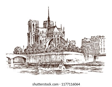 Historical architecture with buildings, perspective view. Vintage Landscape. Notre-Dame de Paris. Engraved hand drawn in old sketch and monochrome . Travel postcard.