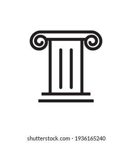 Historical building icon, pillar symbol vector
