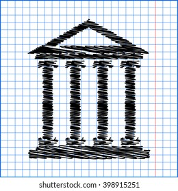 Historical building icon, vector illustration