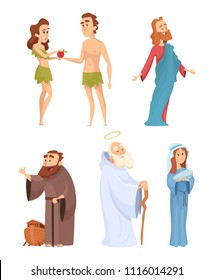 Historical characters of bible. Vector mascots in various poses. Illustration of character bible eve and adam, virgin mary and noah