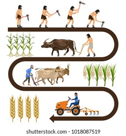Historical chronology of agriculture. Collection of vector illustrations for infographics