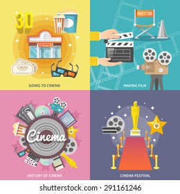 Historical cinema festival movie theater entrance tickets set 4 flat icons square composition abstract isolated vector illustration
