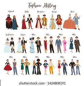 Historical epochs fashion history clothes design and dressing vector