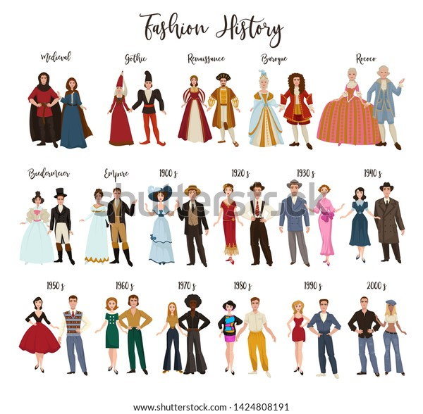 Historical Epochs Fashion History Clothes Design Stock Vector Royalty Free 1424808191