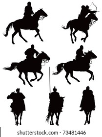 Historical horse riders. Knights and archer from late middle ages. Some of them looks also like cowboys. Vector black illustration on white.