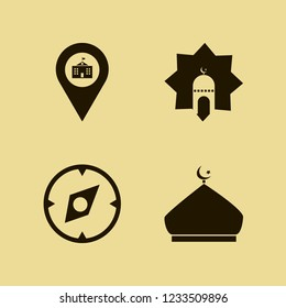 historical icon. historical vector icons set compass, mosque, university location and islamic mosque