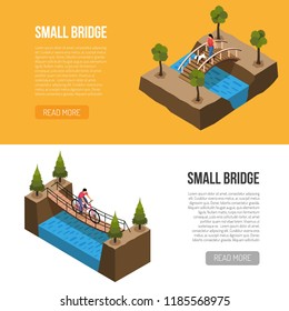 Historical little bridges features 2 isometric horizontal banners web page design with different wooden constructions vector illustration