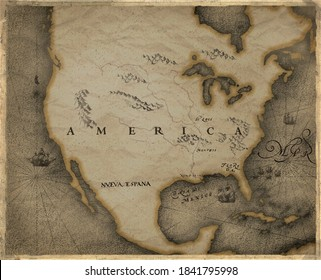 historical map of north America