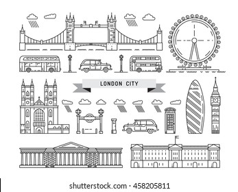 Historical and modern symbols of London and British culture.The set of buildings, taxis and double-Decker buses of London. London black cab